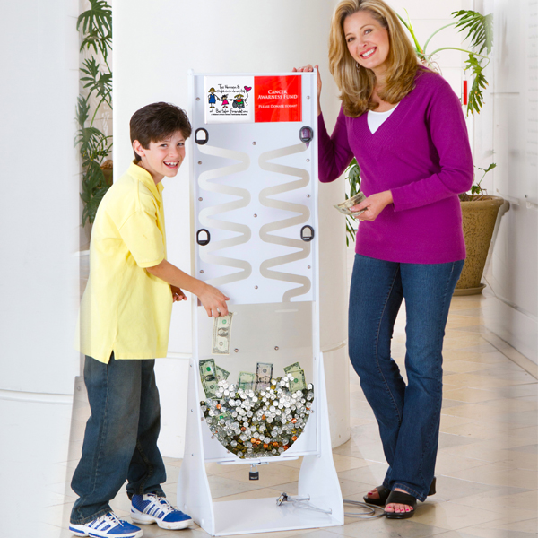 White Donation Stand with Models
