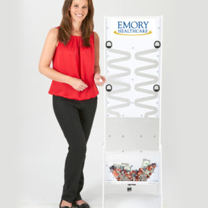 White Deluxe Donation Stand with Model USA