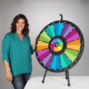 12-24 slot Prize Wheel with LED Lights and graphics Made in USA