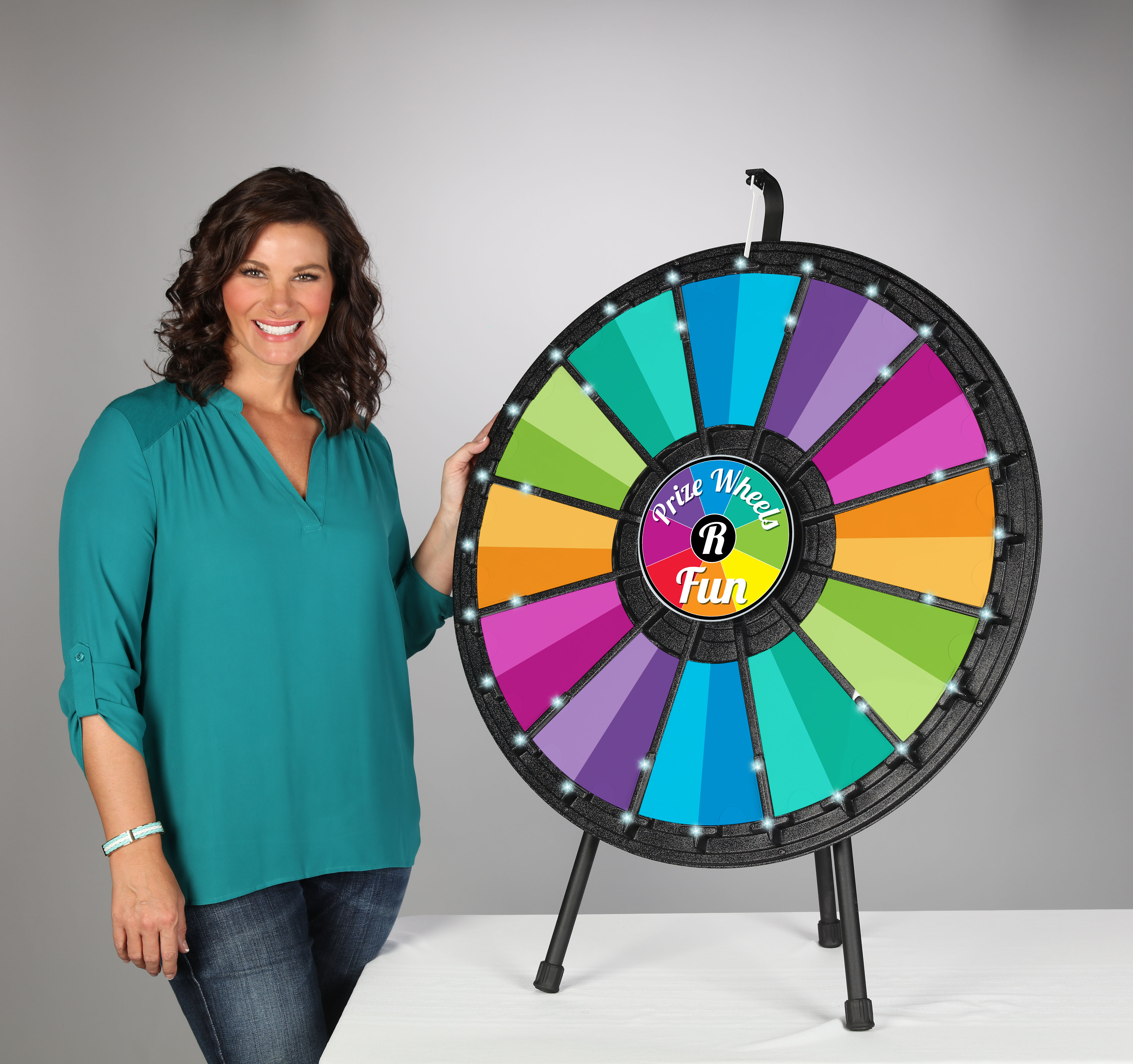 12 - 24 slot Table Top Prize Wheel with Lights